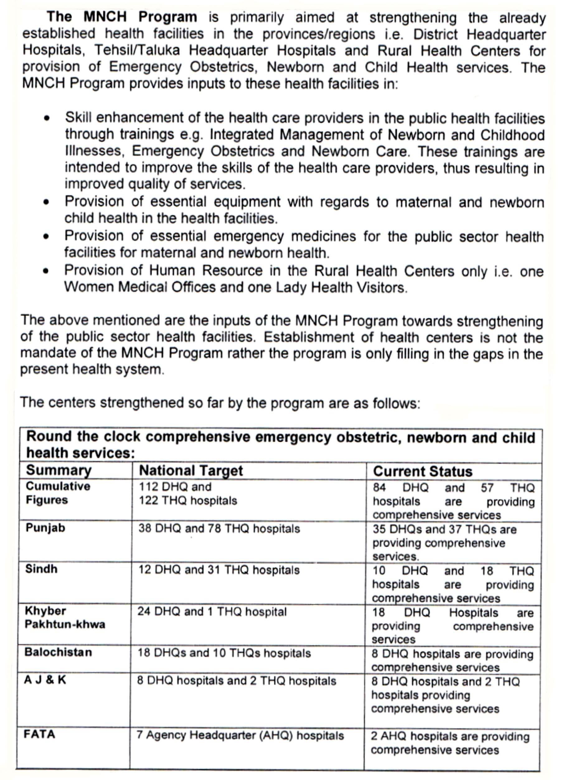 National MNCH Program - Emergency Obstetric Care